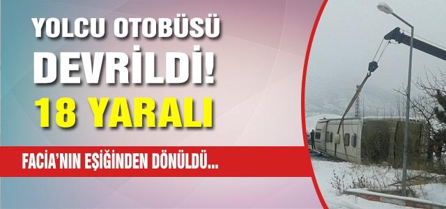 Çankırı'da yolcu otobusu devrildi! 18 kisi yaralı