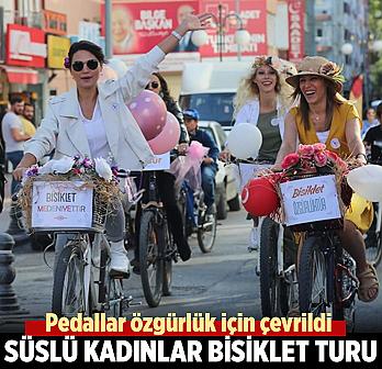 Çankırı'da 'süslü kadınlar bisiklet...
