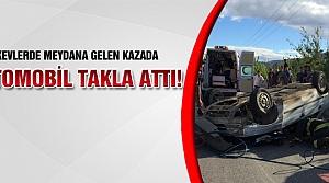 Otomobil takla attı 2 kişi yaralandı!