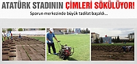 Atatürk'ün çimleri sökülüyor!