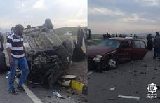 Çankırı'da kaza yapan otomobil ters döndü! İkisi ağır 8 yaralı...