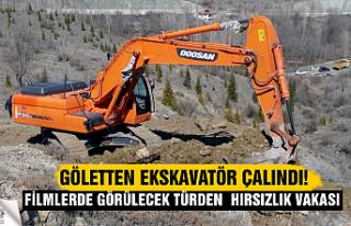 Çankırı'da gölet inşaat alanından ekskavatör...