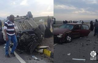 Çankırı'da kaza yapan otomobil ters döndü!...