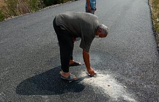 Siyasiler poz verdi, skandal asfaltlama çalışmasını...