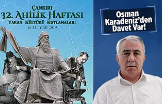 Çankırı'da Ahilik Haftası Yaran  Kültürü Kutlamaları başlıyor!