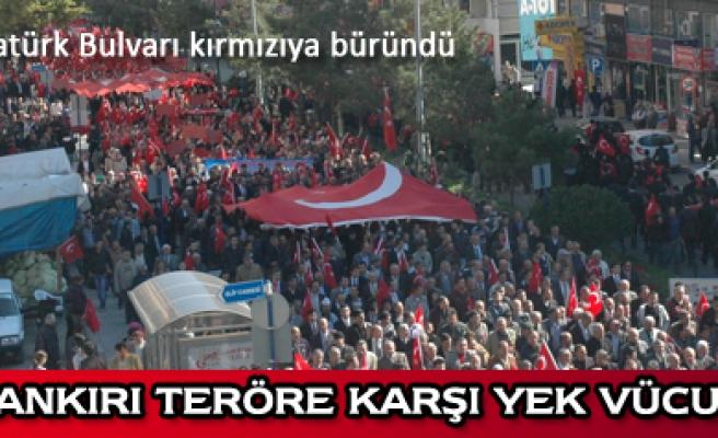 Çankırı da 15 bin kişi teröre tepki için yürüdü