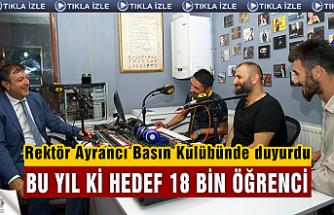 Rektör Ayrancı, Üniversite'nin bu yıl ki hedefi 18 bin öğrenci!