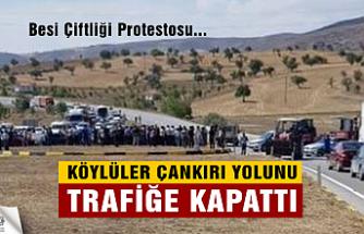 Köylüler Çankırı yolunu trafiğe kapattı