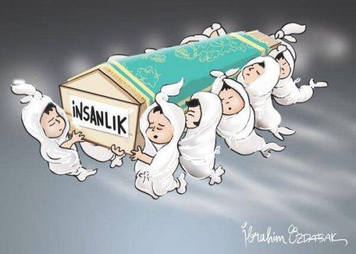İbrahim Özdabak Suriye'de insanlığın cenazesini kaldıran cennet kuşlarını, kimyasal silahlarla katledilen çocukları çizmiş: