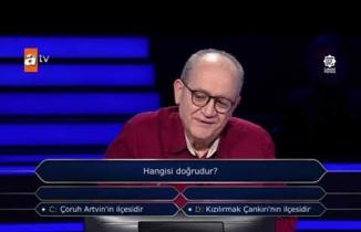 """Milyoner'de zorlayan 30 binlik Çankırı sorusu! """"Kızılırmak Çankırı'nın ilçesidir"""""""